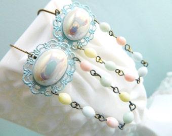 Pastel Earrings, Powder Blue Earrings, Irridescent White Earrings, Blue White Earrings, Romantic Earrings, Vintage Earrings, Spring Earrings