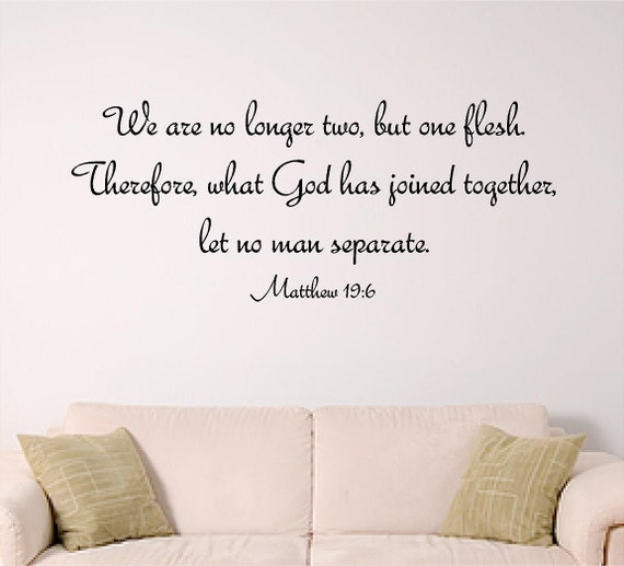 Two become one bible verse wall graphic wall decal for - Stickers chambre parentale ...