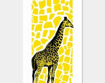 Giraffe Art Print - Pop Art Yellow - Nursery Kids Room - Screenprint