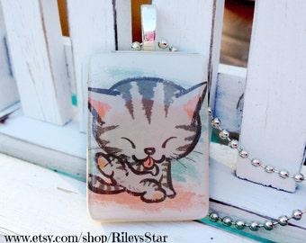 Grooming Kitty Game Tile Pendant