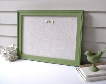 Magnetic Bulletin Board - Sage Green Memo Board with Handmade Wood Frame 15 x 22 Message Board with Ivory White Burlap Fabric