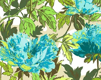 Twilight Peony Soul Blossoms in Azure by Amy Buler - 1 yard