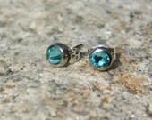 Swarovski Rhinestone Earring Studs Blue, Aquamarine