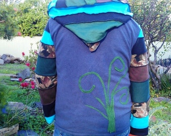 SALE.. HIS patchwork festival coat.... up cycled and super funked