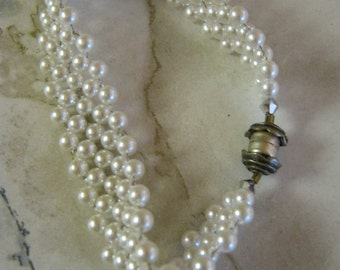 White Faux Pearl Braided Wedding Bracelet