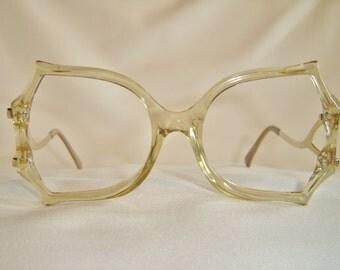 Vintage '80'S Cut Crystal Designer Eyeglasses, Unique Shape, Tan Crystal Tint Color, New Old Stock