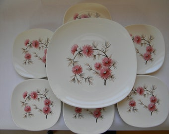PLATES, (7pc.)  Knowles China CORAL PINE Cake Serving Set 1950's
