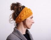 Knitted Headband, Ear Warmer braided Cable knit - Button Closure Ear Warmer or Hair Band Mustard yellow