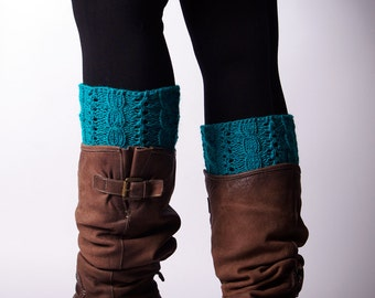Knitted Boot cuffs, Blue  turquoise, Cable knit Boot Cuffs,  Leg Warmers, Boot Toppers, Knit Boot Socks, Lace boot cuffs