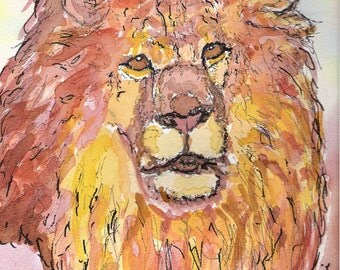 Lion, original watercolor and ink on paper