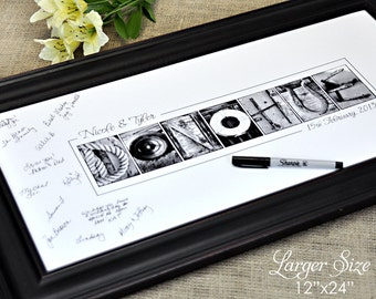 Wedding GUEST BOOK 12x24  Print, Alphabet Photography,  UNFRAMED, personalized last name guest signing print