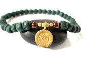 Om Mala Bracelet, Hill Tribe Brass Om Charm, Olivewood Mala Beads, Beaded Yoga Bracelet