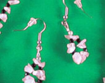 Quartz Crystal Chips & Black Faceted Glass Beads Earrings