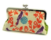 Bird perch in teal fabric Clutch - Echino Japanese Linen in green, teal, purple and orange-red