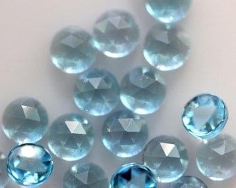 4mm Rose Cut Swiss Blue Topaz - 1 Cab