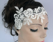 Bridal Headband Fascinator Floral Lacy Tulle Applique Organza Ribbon Romantice Seaside Wedding Handmade