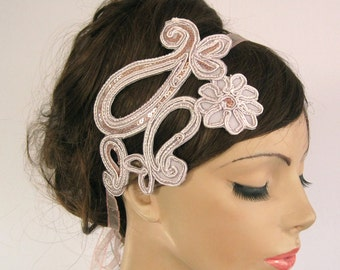 Bridal Head Piece Fascinator Mauve Pink Colored Eyelet Lace Art Deco Wedding Handmade, One of a Kind Item