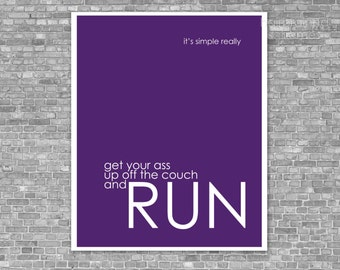 2014 Resolution Exercise Running Poster It's Simple Really - Marathon Fitness Inspirational Funny Modern Print Quote Typography Royal Purple