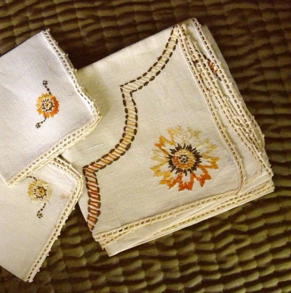 vintage arts and crafts linen table cover silk embroidery