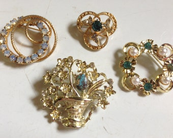 Rhinestone Blue & Green Brooches Vintage lot 3