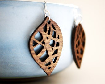 Laser Cut Walnut Wood Leaf Earrings