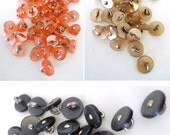 Vintage Buttons Lot Pearly Coral Pink Caramel Brown Grey Black