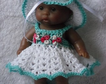 Crochet pattern for Berenguer 5 inch baby doll all-in-one dress set