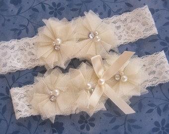 Sale! Ivory Bridal Garter Wedding Garter Set with Toss Garter Tulle flowers and embellishments