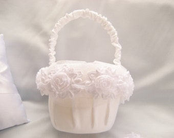 White Flower Girl Basket Shabby Chic Vintage Custom Colors Wedding Basket
