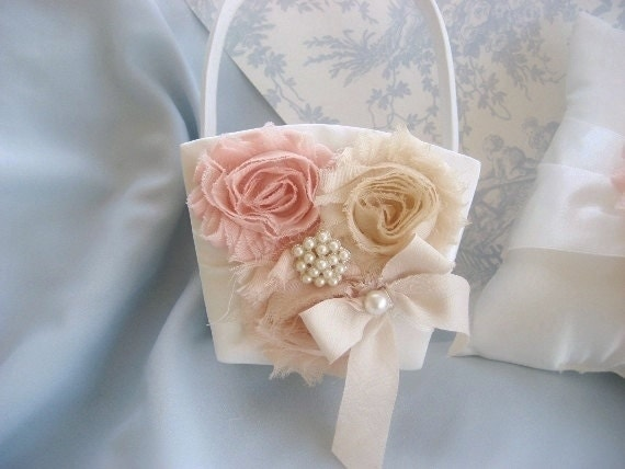 Flower Girl Basket  Peach Rose Blossom Shabby Chic