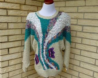 1980s Oversized Sweater Jewel Tones Embellished 3 Dimensional Dead Stock Carducci Womens Vintage Medium
