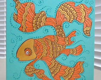 "Golden Fish - 12""x12"" Canvas- Henna Mehndi Inspired - Original OOAK -  Home Decor - Gift - Valentines Day - Swarovski"