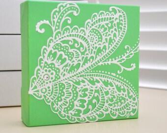 Custom Order - White on Green - Wings - Henna Style Original Painting - 6x6 Canvas-  Swarovski