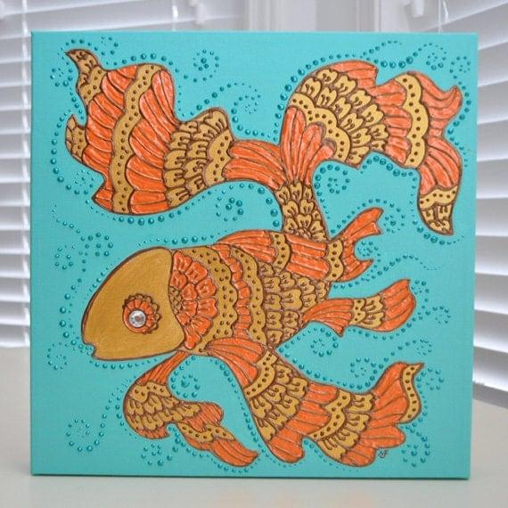 """Pez dorado - 12 """"x 12"""" inspirado en lona - alheña - Original OOAK - decoración para el hogar - regalo - día de San Valentín - Swarovski"""