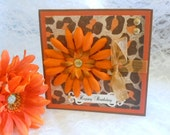 Birthday Card ,  daisy, glitter, leopard print, brown, orange , gold for female ,woman, sister, daughter, aunt