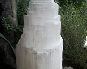 "SELENITE CRYSTAL LAMP Electric Tower XLg 10""-13"" Fat Meditate Aura Spirit Metaphysical White Light Therapy Angel Intuition Purify Feng Shui"