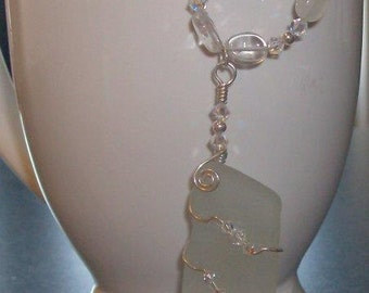 Beach Glass Wrapped in Sterling Silver