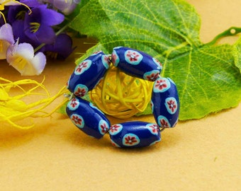 6 Beautiful Handmade Blue Red Oval Polymer Clay Beads 16mm