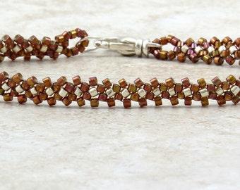 Chain Bracelet - Seed Bead Bracelet - Beaded Jewelry - Daisy Chain Jewelry - Brown Bracelet - Layering Jewelry