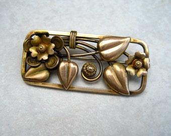 Vintage Louis Stern Brooch Floral Gold Filled Openwork