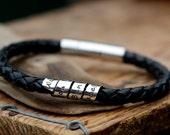 Personalized Black Open Scroll Bracelet - leather bracelet, male bracelet, custom mens bracelet, graduation gift