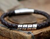 Personalised Brown Open Scroll Bracelet - brown leather bracelet, male leather bracelet, gift for Dad, gift for son, scroll bracelet