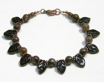Dark Brown Autumn Leaves Pietersite and Copper Bracelet