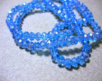 Crystal  Beadfs Blue AB Faceted Rondelles 4x3mm
