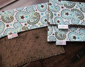 Burp Rags- Set of Three in Stars and Swirls with Chocolate Brown Minky Dot- READY TO SHIP