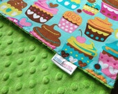 Minky Baby Blanket, My Little Cupcake with Lime Green Minky - READY TO SHIP