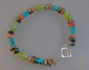 Turquoise, rhodochrosite and chrysoprase bracelet: charity donation