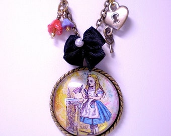 Alice in Wonderland Necklace, Glass Photo Pendant Necklace, Drink Me Necklace