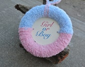 Gender Reveal Party Decor, Yarn Wreath, Door Decor, Maternity Photo Prop