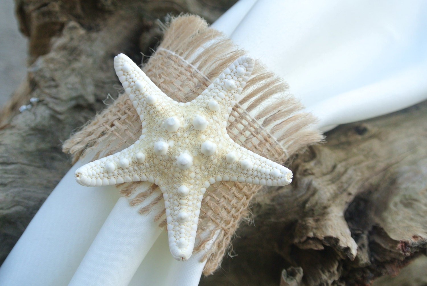 Burlap & Starfish Napkin Rings Beach Wedding Table by JCBees